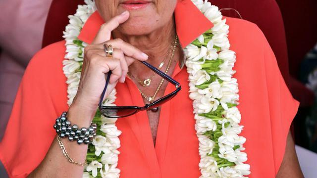 Brigitte Girardin, le 29 juin 2014 à Papeete [Gregory Boissy / AFP/Archives]
