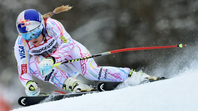 L'Américaine Lindsey Vonn lors de l'entraînement pour la descente de la Coupe de monde de Garmisch (sud de l'Allemagne), le 4 février 2016 February 4, 2016  [Christof STACHE / AFP]
