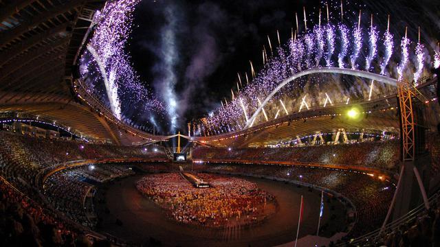 Le stade olympique d'Athènes, le 29 août 2004, lors de la cérémonie de clôture des JO [Eric Feferberg / AFP/Archives]
