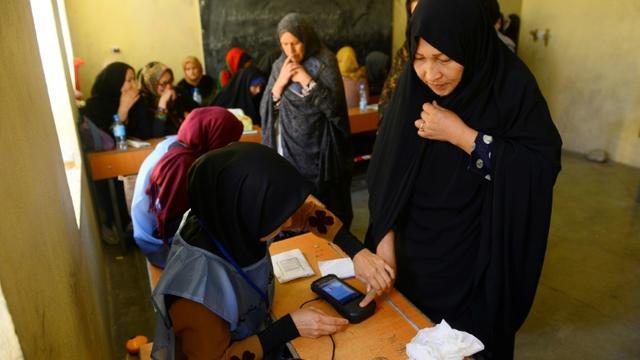 Une employée électorale enregistre l'empreinte biométique d'une votante lors des législatives, le 20 octobre 2018 à Hérat, en Afghanistan [HOSHANG HASHIMI / AFP]