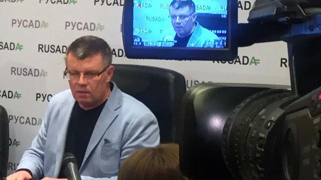 Le chef de l'Agence russe antidopage (Rusada), Nikita Kamaev, en conférence de presse à Moscou, le 10 novembre 2015 [- / RUSSIA'S ANTI-DOPING AGENCY/AFP]