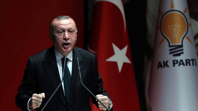 Le président turc Recep Erdogan prononce un discours le 6 décembre 2018 au siège de son parti [ADEM ALTAN / AFP]