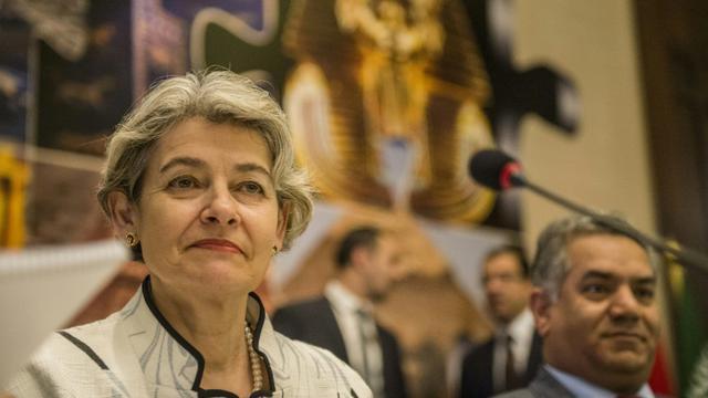 La directrice générale de l'Unesco, Irina Bokova,lors d'une conférence de presse le 13 mai 2015 au Caire [Khaled Desouki / AFP/Archives]