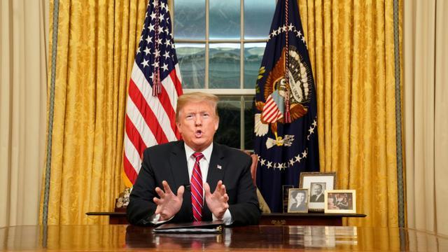 Le président américain Donald Trump a donné le 8 janvier 2019 sa première allocution à la nation depuis le Bureau ovale de la Maison Blanche [CARLOS BARRIA / POOL/AFP]