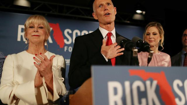 Le gouverneur de Floride, Rick Scott, le soir de l'élection, le 6 novembre 2018 [JOE RAEDLE / GETTY IMAGES NORTH AMERICA/AFP]