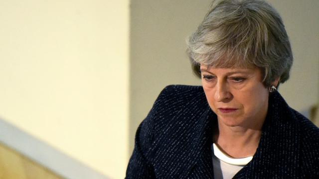 La Première ministre britannique Theresa May à Belfast (Irlande du Nord) le 5 février 2019 [CLODAGH KILCOYNE / POOL/AFP]