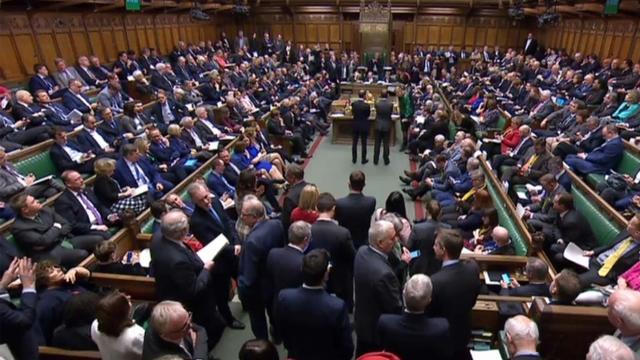 Image extraite d'une vidéo produite par le parlement britannique lors du vote des députés sur le Brexit à Londres le 14 mars 2019 [PRU / PRU/AFP]