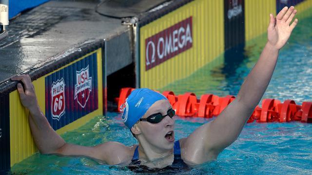 Katie Ledecky après son record du monde au 400 m nage libre lors des Championnats du des Etats-Unis à Irvine le 9 août 2014 [Harry How / GETTY IMAGES NORTH AMERICA/AFP]
