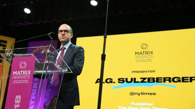 A.G. Sulzberger, directeur de la publication du New York Times, le 23 avril 2018 à New York [ROB KIM / GETTY IMAGES NORTH AMERICA/AFP/Archives]