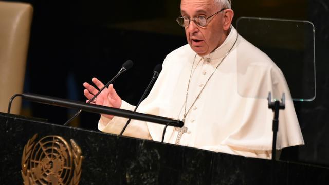 Le pape François s'exprime durant la 70e Assemblée générale des Nations Unies, le 25 septembre 2015 à New York [VINCENZO PINTO / AFP]