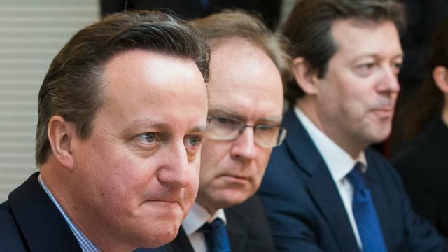 Le Premier ministre britannique David Cameron 16 février 2016 à Bruxelles [YVES HERMAN / POOL/AFP]