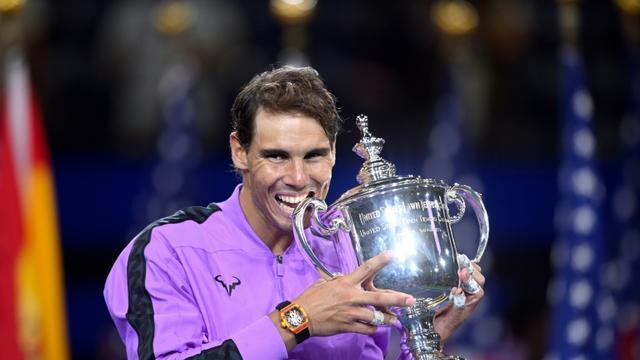 Rafael Nadal après sa victoire contre Daniil Medvedev en finale de l'US Open, le 8 septembre 2019 à New York [Johannes EISELE / AFP]