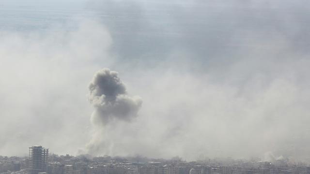La ville de Douma (Syrie), le 7 avril 2018, lors d'une attaque menée par les troupes du régime de Bachar al-Assad [STRINGER / AFP/Archives]