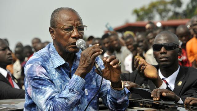 Le président guinéen sortant e Alpha Condé en campagne le 9 octobre 2015 à Conakry [CELLOU BINANI / AFP]