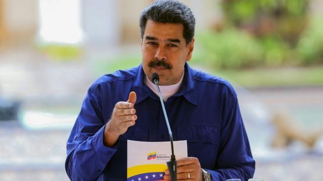 Le président vénézuélien Nicolas Maduro au palais présidentiel de Miraflores, à Caracas le 10 avril 2019 [Marcelo GARCIA / Venezuelan Presidency/AFP]