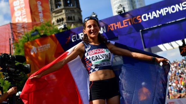 La Française Clémence Calvin, médaille d'argent du marathon des Championnats d'Europe, à Berlin, le 12 août 2018 [Andrej ISAKOVIC / AFP]