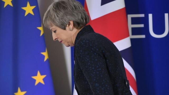 La Première ministre britannique Theresa May, le 22 mars 2019 à Bruxelles [Emmanuel DUNAND / AFP]