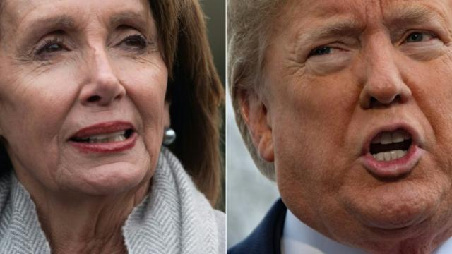 (ILLUSTRATION) La présidente démocrate de la Chambre des représentants Nancy Pelosi et le président américain Donald Trump sont engagés dans un bras de fer depuis plus de trois semaines [SAUL LOEB, Jim WATSON / AFP/Archives]