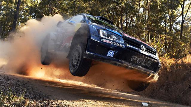 Le pilote Sébastien Augier lors de sa victoire sur le Rallye d'Australie près de Nambuca, le 12 septembre 2015 [William West / AFP]