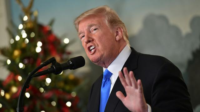 Le président américain Donald Trump à Washington, le 6 décembre 2017 [MANDEL NGAN / AFP]