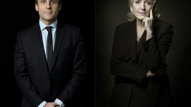 Emmanuel Macron (g) et Marine Le Pen sont qualifiés pour le second tour de la présidentielle [Eric Feferberg, Joël SAGET / AFP/Archives]