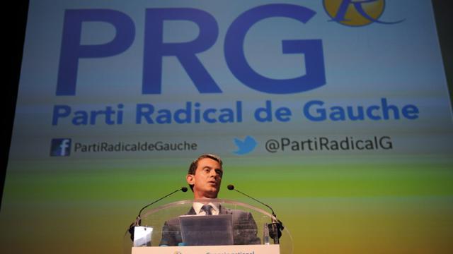 Le Premier ministre Manuel Valls au 100e congrès du Parti Radical de Gauche, le 20 septembre 2015 à Montpellier [SYLVAIN THOMAS / AFP]