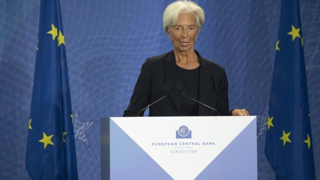 Christine Lagarde prend la présidence de la Banque centrale européenne (BCE), le 28 octobre 2019 à Francfort, en Allemagne [Boris Roessler / POOL/AFP/Archives]