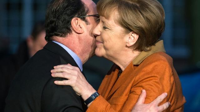Le président français, François Hollande, et la chancelière allemande Angela Merkel, à Strasbourg le 7 février 2016 [Patrick Seeger / POOL/AFP]