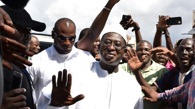 Le leader de l'opposition et candidat à la présidentielle au Mali, Soumaïla Cissé, à Bamako le 13 août 2018, au lendemain du vote dont il rejette par avance les résultats [ISSOUF SANOGO / AFP]