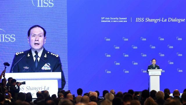 Le ministre chinois de la Défense Wei Fenghe, lors de so discours devant le forum Shangri-La Dialogue à Singapour le 2 juin 2019 [ROSLAN RAHMAN / AFP]