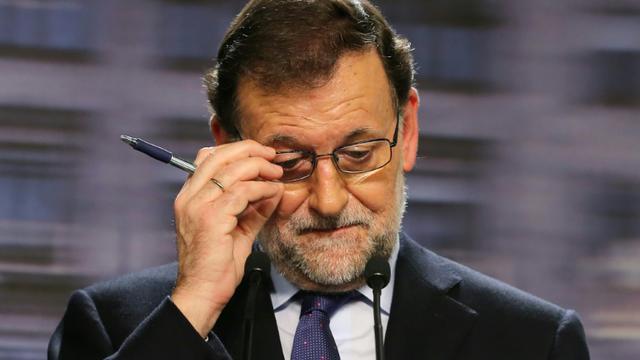 Le Premier ministre espagnol Mariano Rajoy, lors d'une conférence de presse à Madrid le 21 décembre 2015 [CESAR MANSO / AFP]