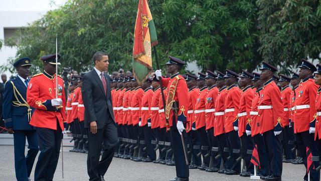 Barack Obama en visite au palais présidentiel du Ghana, le 11 juillet 2009 à Accra [Saul Loeb / AFP/Archives]