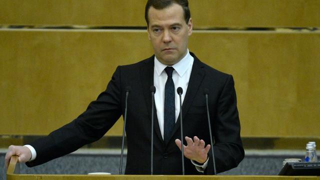 Le Premier ministre russe Dimitri Medvedev le 12 avril 2015 devant la Douma à Moscou  [Yuri Kadobnov / AFP/Archives]