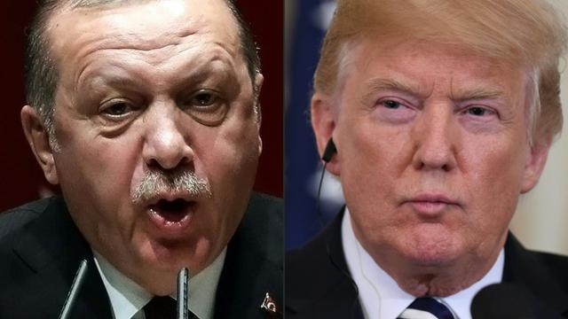 Montage réalisé le 11 août 2018 montrant le président turc Recep Tayyip Erdogan (G) photographié à Ankara le 26 janvier 2018 et le président américain Donald Trump (D) à Washington le 30 juillet 2018 [ADEM ALTAN, SAUL LOEB / AFP]