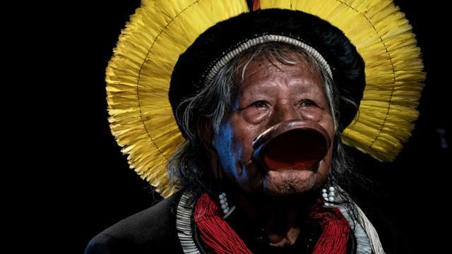 Le chef indigène Raoni Metuktire, le 29 mai 2019 à Lyon (France) [JEFF PACHOUD / AFP/Archives]