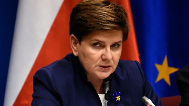 La Première ministre polonaise Beata Szydlo lors d'une conférence de presse à Bruxelles, le 18 décembre 2015 [JOHN THYS / AFP/Archives]