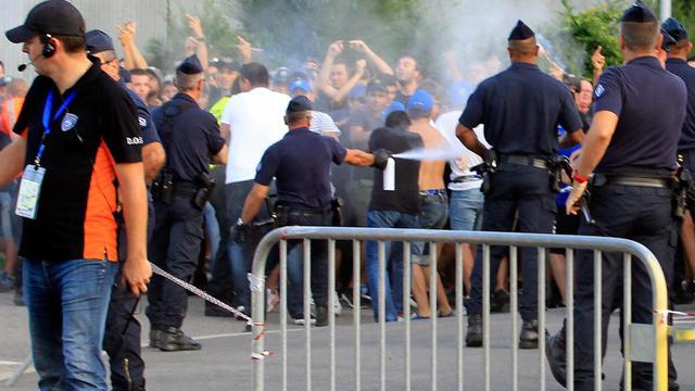 Incidents en marge du match Bastia-OM, le 9 août 2014 autour du stade Armand Cesari de Furiani  [Pascal Pochard Casabianca / AFP]