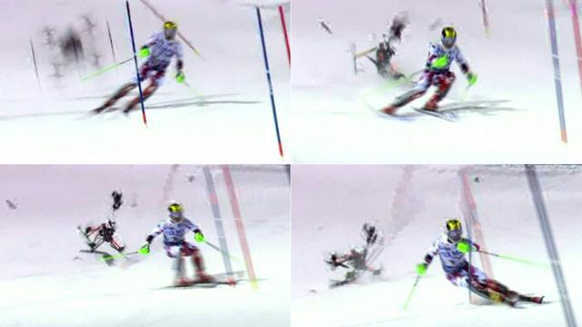 Photos montage avec le crash du drone (g) derrière l'Autrichien Marcel Hirscher lors de la 2e manche du slalom de Madonna (Italie), le 23 décembre 2015 [- / Infront Sports/AFP]