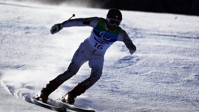 Le skieur handicapé français Vincent Gauthier-Manuel lors du Super G aux jeux de Vancouver, le 19 mars 2010 [Hannah Johnston / Getty/AFP/Archives]