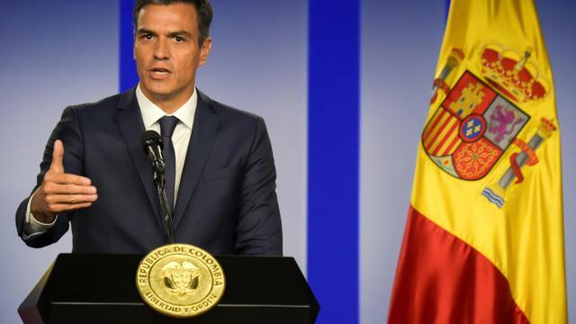 Le Premier ministre espagnol Pedro Sanchez en conférence de presse à Bogota en Colombie, le 30 août 2018 [Raul ARBOLEDA / AFP]