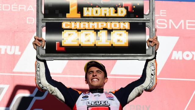 L'Espagnol Marc Marquez sur le podium du GP du Japon, à Motegi, le 21 octobre 2018 [Martin BUREAU / AFP]