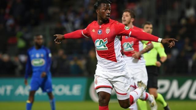 La joie de Keita Baldé auteur d'un doublé dans le succès de l'AS Monaco face à Saint-Pryvé-Saint-Hilaire au stade de La Source à Orléans, le 20 janvier 2020 [GUILLAUME SOUVANT / AFP]