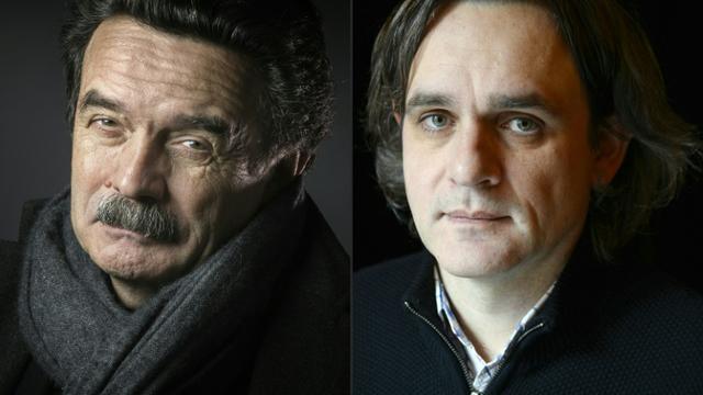 Montage photo d'Edwy Plenel, directeur de Mediapart (G), en février 2016, et de Riss, directeur de Charlie Hebdo, en février 2015 [JOEL SAGET, Bertrand GUAY / AFP/Archives]