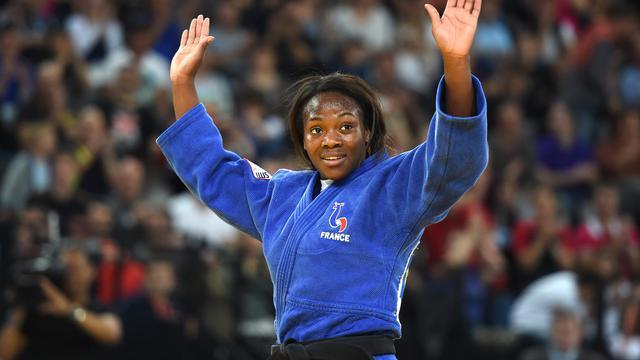 La Française Clarisse Agbegnenou après son tire de championne d'Europe des moins de 63 kg, le 25 avril 2014 à Montpellier [Pascal Guyot / AFP]