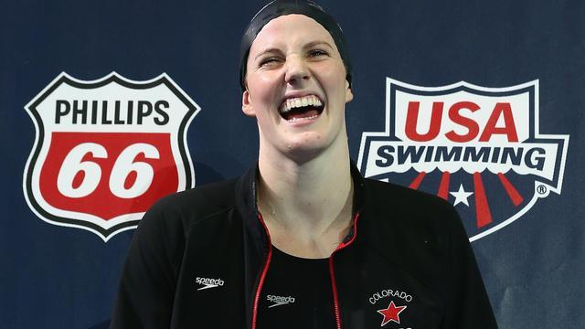 La joie de la nageuse Missy Franklin après sa victoire en finale du 200m libre aux sélections américaines, le 26 juin 2013 à Indianapolis [Streeter Lecka / Getty/AFP]