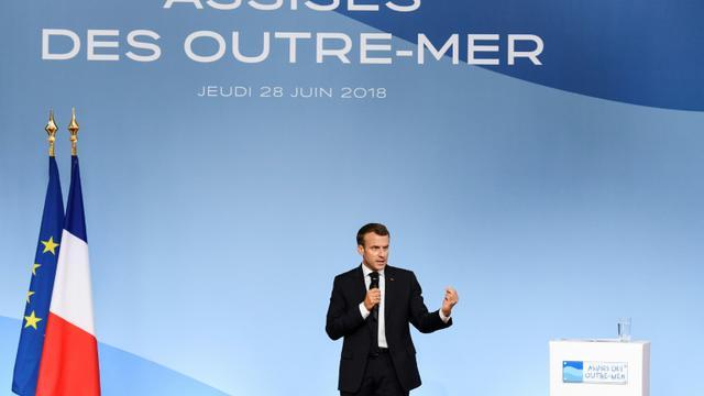 """Discours d'Emmanuel Macron aux """"Assises des outre-mer"""" à Paris le 28 juin 2018 [BERTRAND GUAY / POOL/AFP]"""