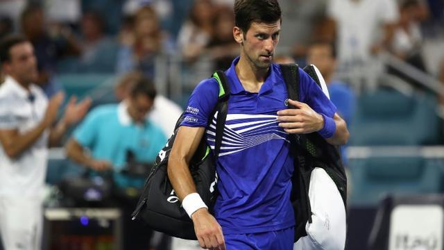 Le N1 mondial Novak Djokovic, après sa défaite contre l'Espagnol   Roberto Bautista Agut le 26 mars 2019 à Miami [JULIAN FINNEY / GETTY IMAGES NORTH AMERICA/AFP]