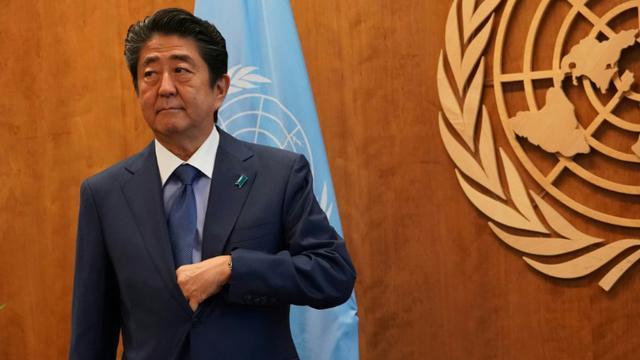 Le Premier ministre japonais Shinzo Abe lors de l'Assemblée générale annuelle de l'ONU à New York, le 25 septembre 2018 [Don EMMERT / AFP]