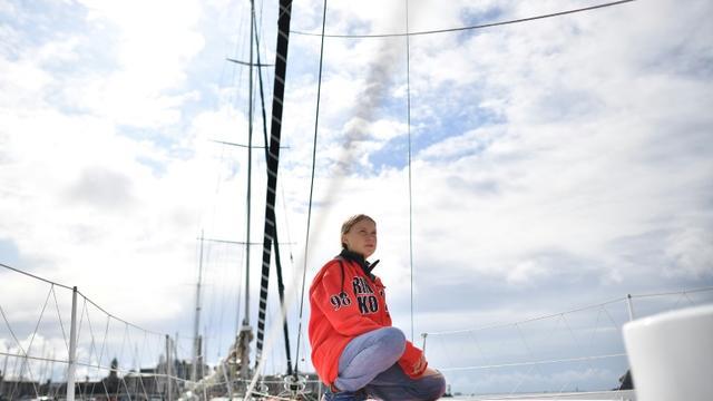 Greta Thunberg sur le voilier Malizia II à Plymouth, en Angleterre, le 13 août 2019 [Ben STANSALL / AFP]