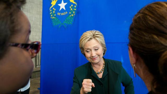La candidate à la primaire démocrate Hillary Clinton en campagne à Las Vegas, dans le Nevada, le 19 février 2016, aux Etats-Unis [JOSH EDELSON / AFP]